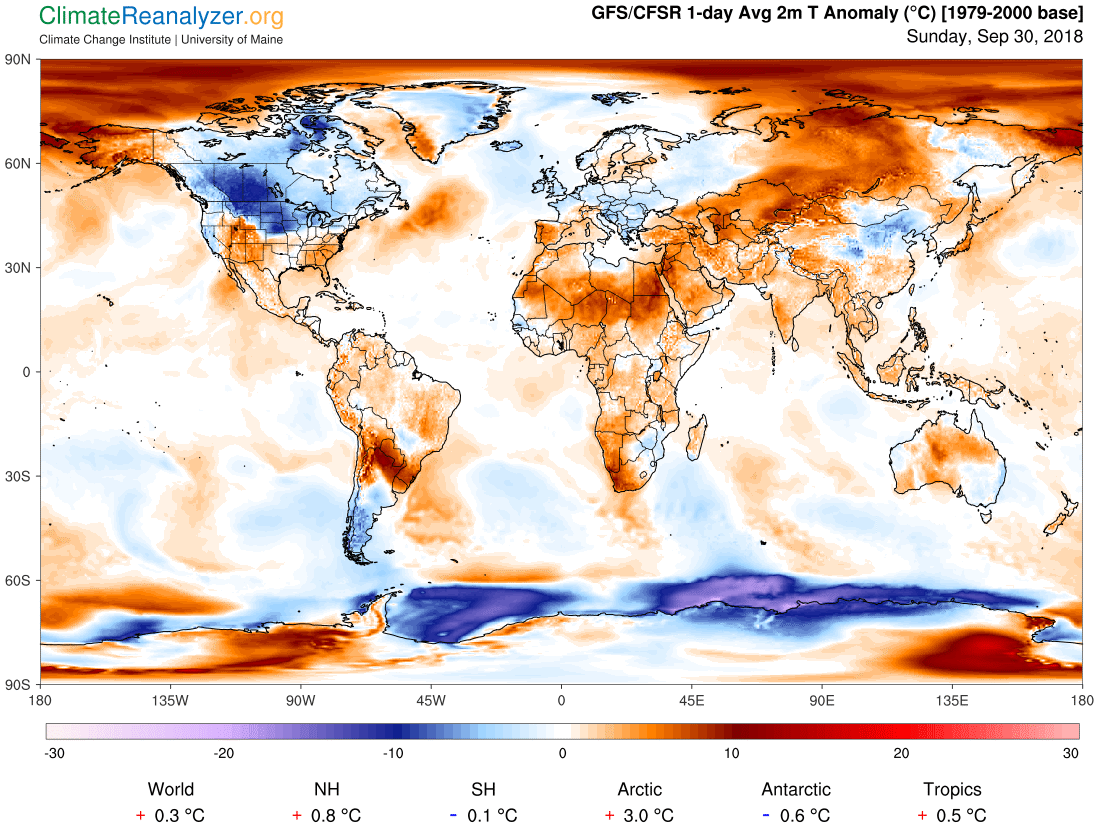 Global Meteo Overview 30 September, 2018 #Earth #weather (Raport meteo Pamant - 30 Septembrie 2018)