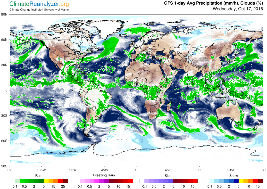 Global Meteo Overview 17 October, 2018 #Earth #weather (Raport meteo Pamant - 17 Octombrie 2018)