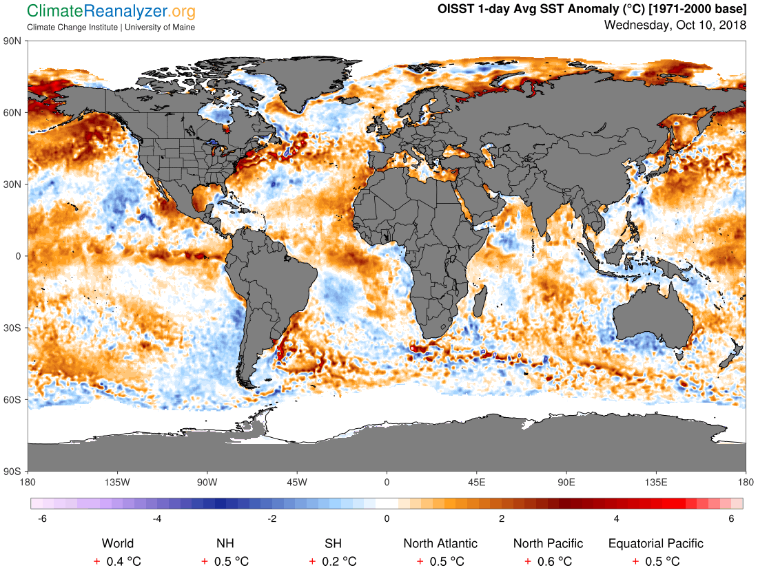 Global Meteo Overview 12 October, 2018 #Earth #weather (Raport meteo Pamant - 12 Octombrie 2018)