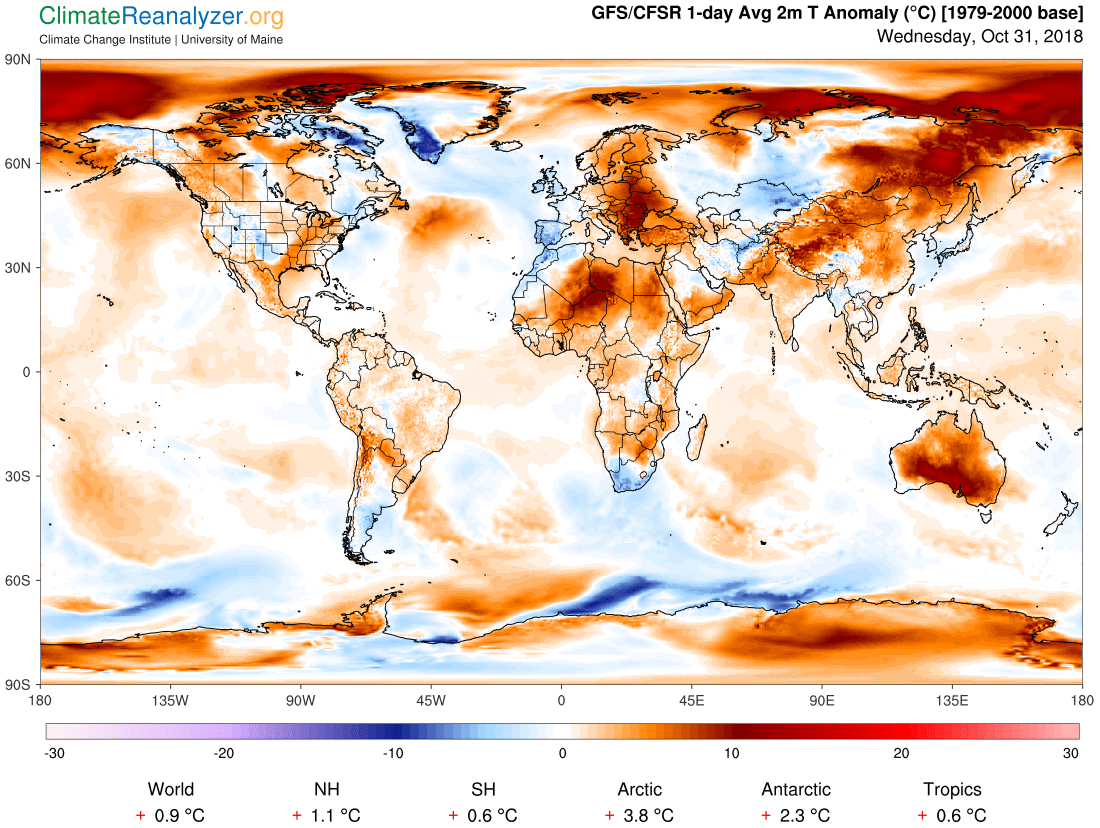 Global Meteo Overview 31 October, 2018 #Earth #weather (Raport meteo Pamant - 31 Octombrie 2018)