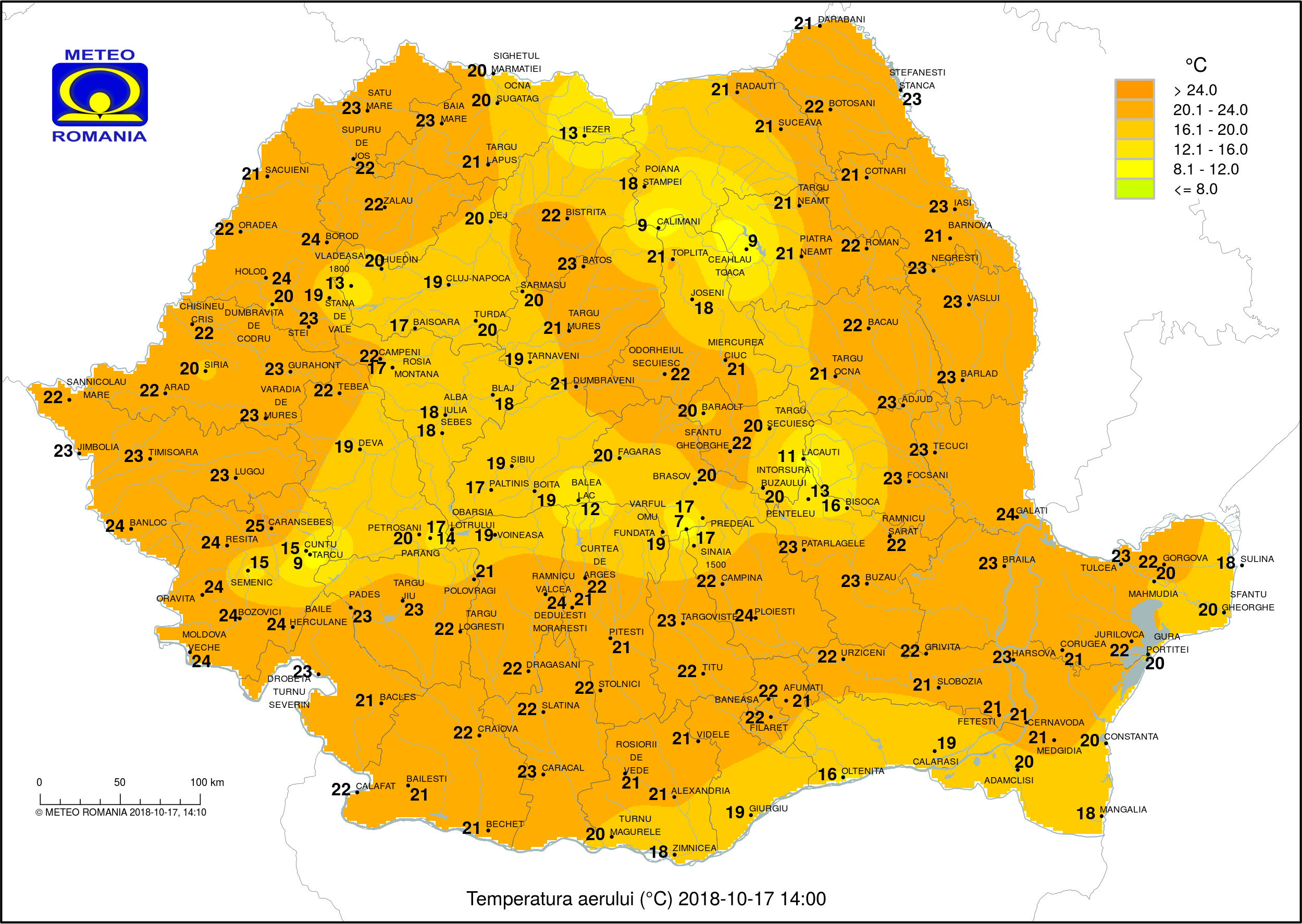Temperaturi ora 14 #Romania (2 pm o'clock Romania temperature)