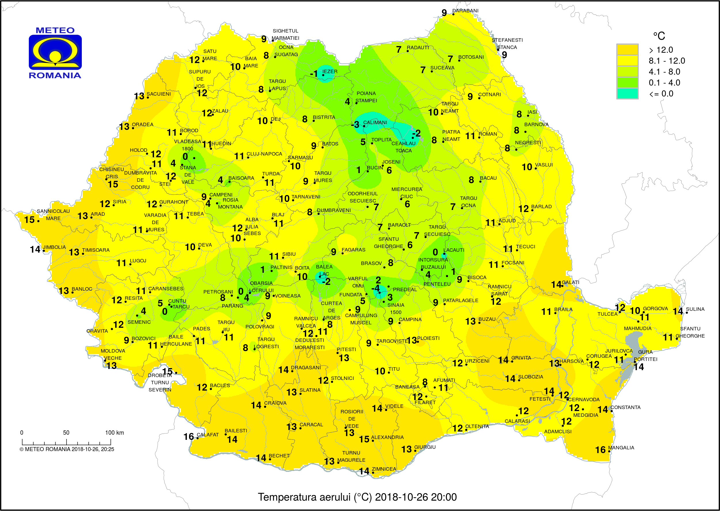 Temperaturi ora 20 #Romania (Romania evening temperatures)