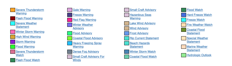 Today weather warnings United State #USA #weather (Avertizari meteo astazi in USA)
