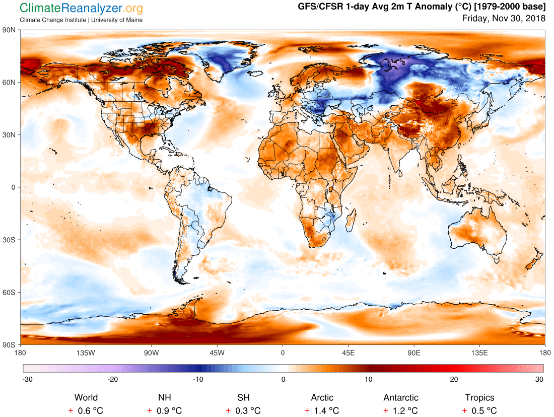 Global Meteo Overview 30 November, 2018 #Earth #weather (Raport meteo Pamant - 30 Noiembrie 2018)