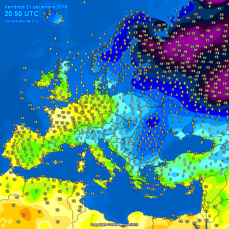 Evening temperatures Europe - Major cities #weather (Temperaturile serii in Europa)
