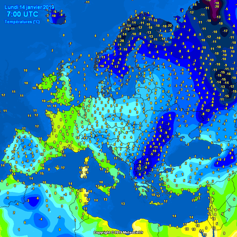 Morning temperatures Europe