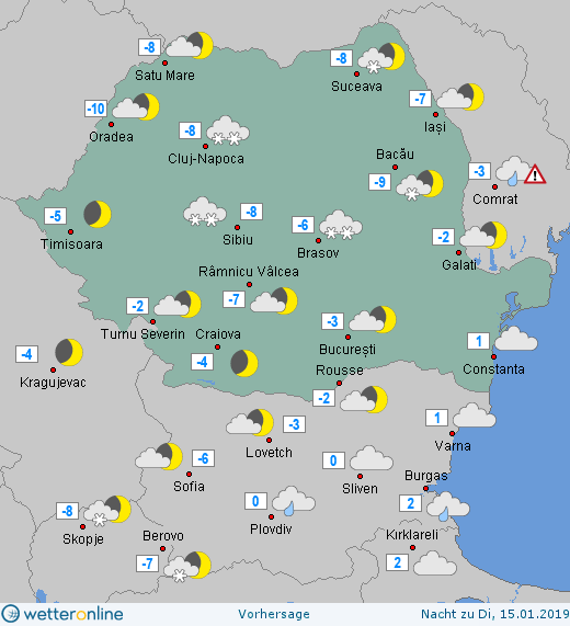 Prognoza meteo Romania 14 Ianuarie 2019 #Romania (Romania weather forecast for today).