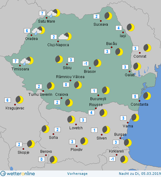 Prognoza meteo Romania 4 Martie 2019 #Romania (Romania weather forecast for today).