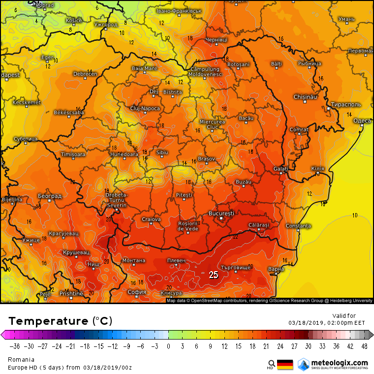 Prognoza meteo Romania 18 Martie 2019 #Romania (Romania weather forecast for today).