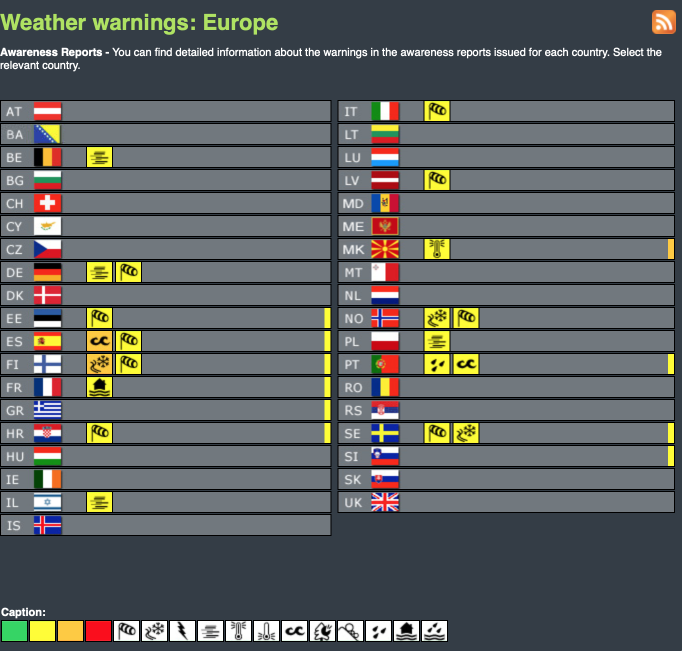 Weather warnings Europe - today and tomorrow #weatherforecast (Avertizari meteo astazi si maine in Europa)