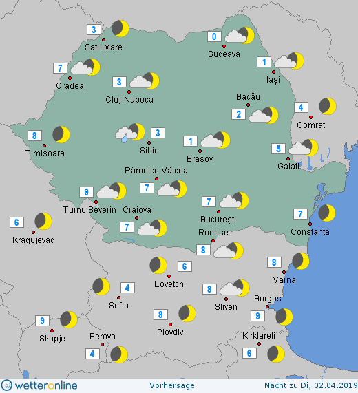 Prognoza meteo Romania 1 Aprilie 2019 #Romania (Romania weather forecast for today).