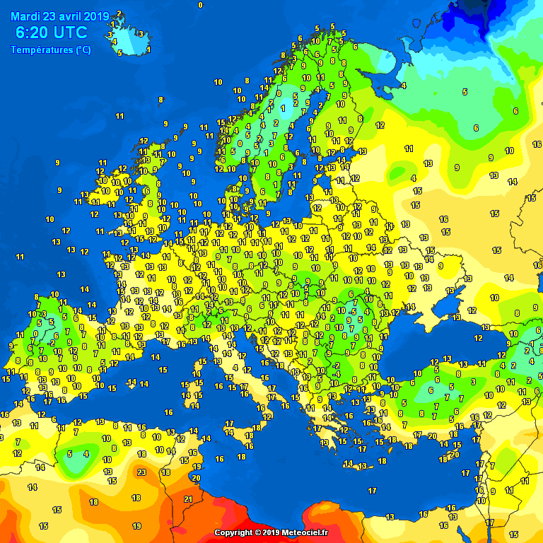 Morning temperatures Europe - Major cities temperatures #weather (Temperaturile diminetii in Europa)