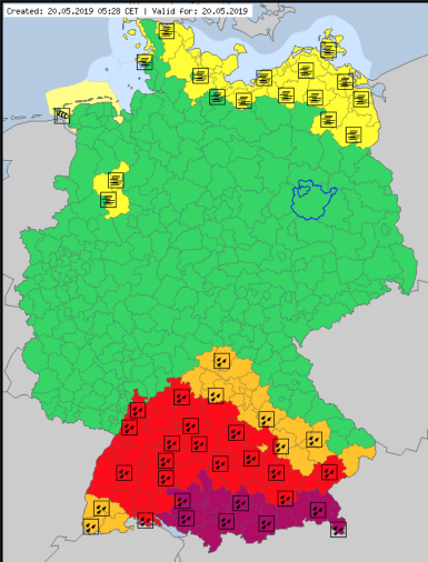 Germany red code warnings