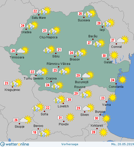 Prognoza meteo Romania 20 Mai 2019 #Romania (Romania weather forecast for today).
