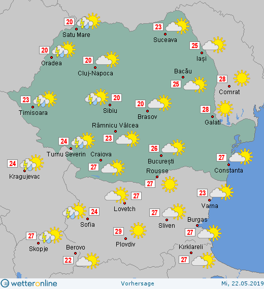 Prognoza meteo Romania 22 Mai 2019 #Romania (Romania weather forecast for today).