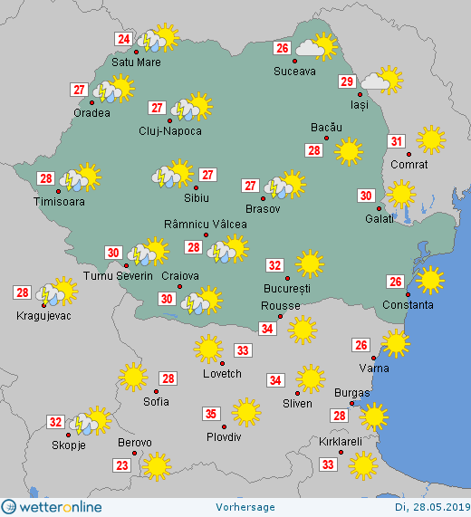 Prognoza meteo Romania 28 Mai 2019 #Romania (Romania weather forecast for today).
