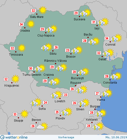 Prognoza meteo Romania 10 Iunie 2019 #Romania (Romania weather forecast for today).