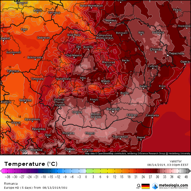 Prognoza meteo Romania 13 August 2019 Romania (Romania weather forecast for today).