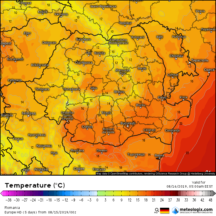 Prognoza meteo Romania 15 August 2019 Romania (Romania weather forecast for today).