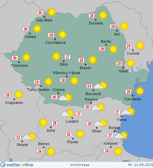 Prognoza meteo Romania 11 Septembrie 2019 Romania (Romania weather forecast for today).