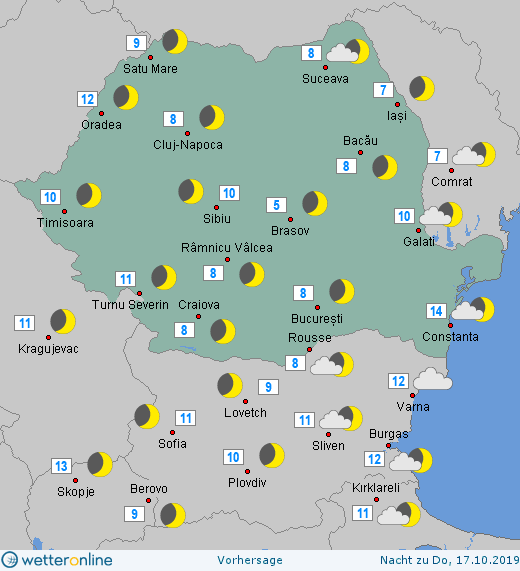 Prognoza meteo Romania 16 Octombrie 2019 Romania (Romania weather forecast for today).