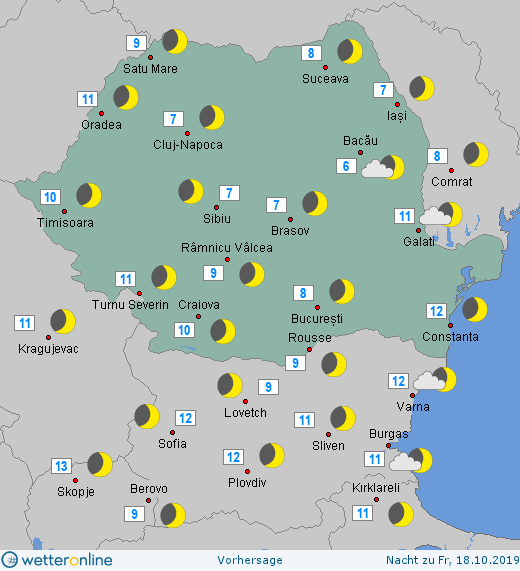 Prognoza meteo Romania 17 Octombrie 2019 Romania (Romania weather forecast for today).