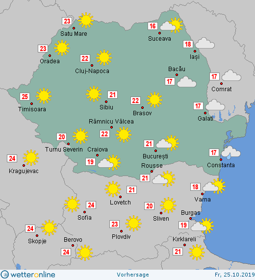Prognoza meteo Romania 25 Octombrie 2019 Romania (Romania weather forecast for today).