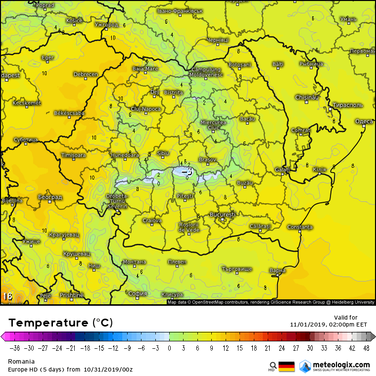 Prognoza meteo Romania 31 Octombrie 2019 Romania (Romania weather forecast for today).