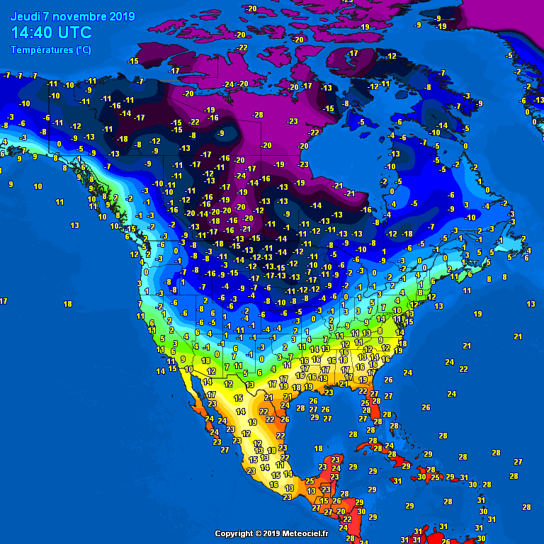 Morning temperatures North America - Major cities #USA #Canada (Temperaturile diminetii in America de Nord)