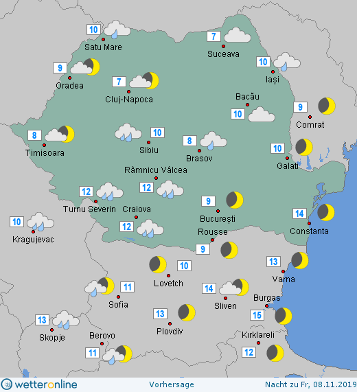 Prognoza meteo Romania 7 Noiembrie 2019 Romania (Romania weather forecast for today).