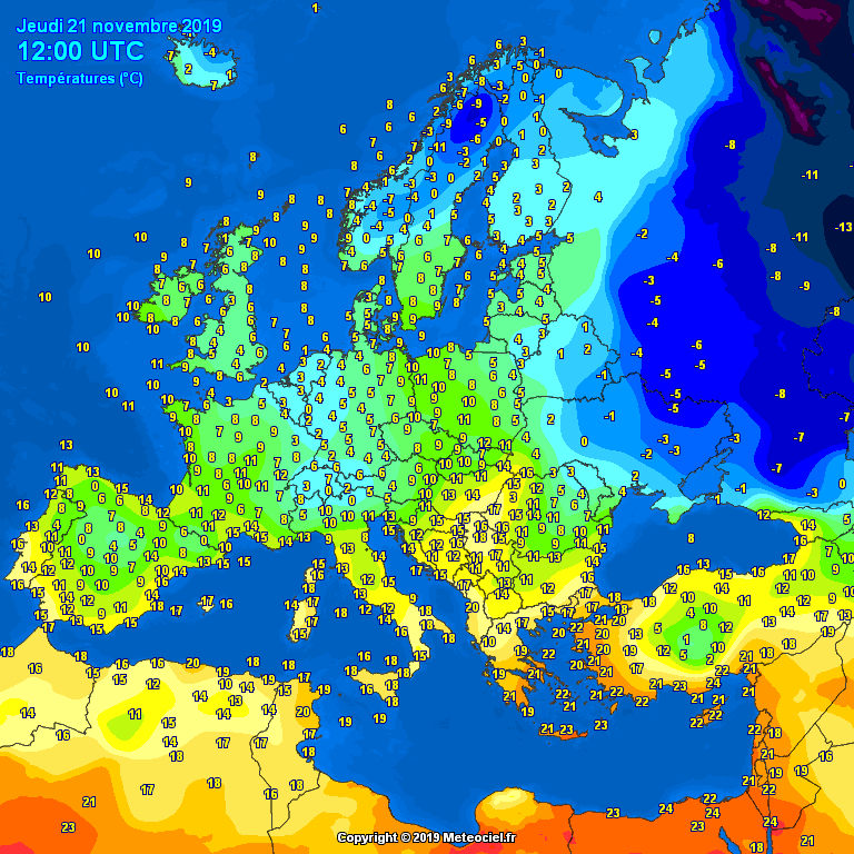 Temperatures Europe at noontime - Major cities temperature #weather (Temperaturile pranzului in Europa)