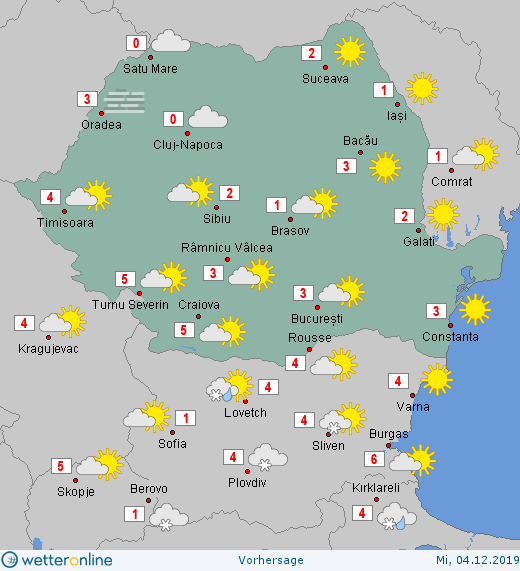 Prognoza meteo Romania 4 Decembrie 2019 Romania (Romania weather forecast for today).