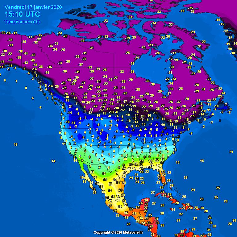 Morning temperatures North America - Major cities #USA #Canada (Temperaturile diminetii in America de Nord)