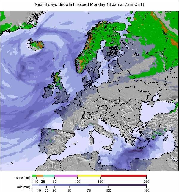 Precipitation maps Europe #weather (Precipitatii Europa in urmatoarele 3 zile)