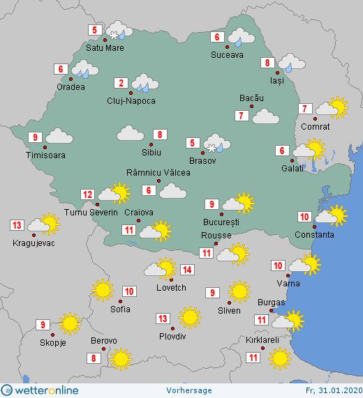 Prognoza meteo Romania 31 Ianuarie 2020 #Romania #vremea