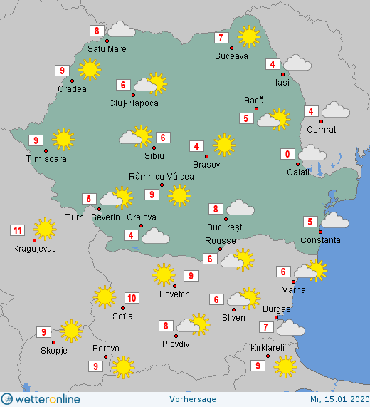 Prognoza meteo Romania 15 Ianuarie 2020 #Romania #vremea