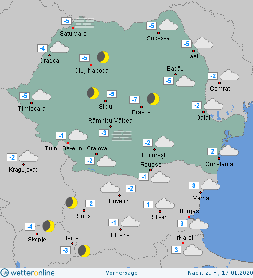 Prognoza meteo Romania 16 Ianuarie 2020 Romania (Romania weather forecast for today).