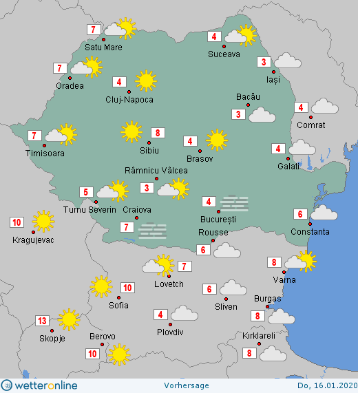 Prognoza meteo Romania 16 Ianuarie 2020 #Romania #vremea