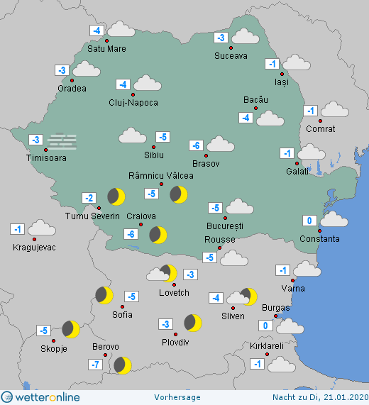Prognoza meteo Romania 20 Ianuarie 2020 Romania (Romania weather forecast for today).