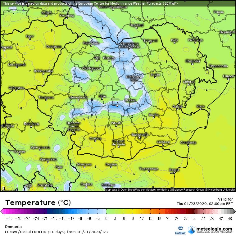 Prognoza meteo Romania 22 Ianuarie 2020 Romania (Romania weather forecast for today).