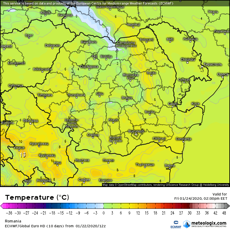 Prognoza meteo Romania 23 Ianuarie 2020 Romania (Romania weather forecast for today).