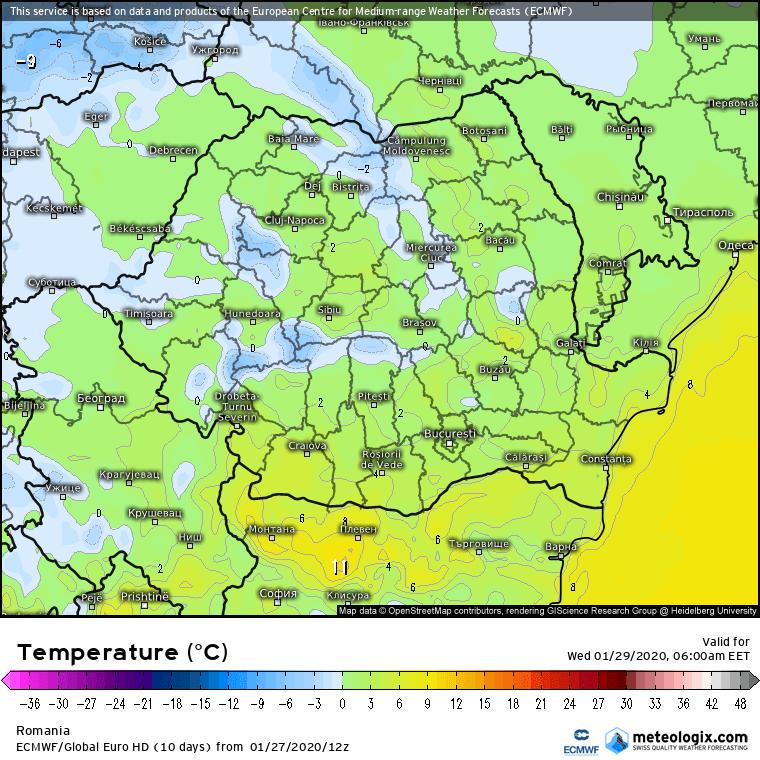 Prognoza meteo Romania 28 Ianuarie 2020 Romania (Romania weather forecast for today).