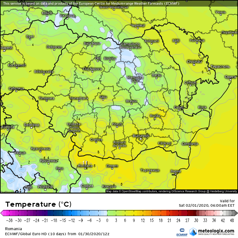 Prognoza meteo Romania 31 Ianuarie 2020 Romania (Romania weather forecast for today).