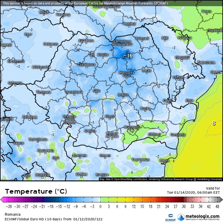 Prognoza meteo Romania 13 Ianuarie 2020 Romania (Romania weather forecast for today).