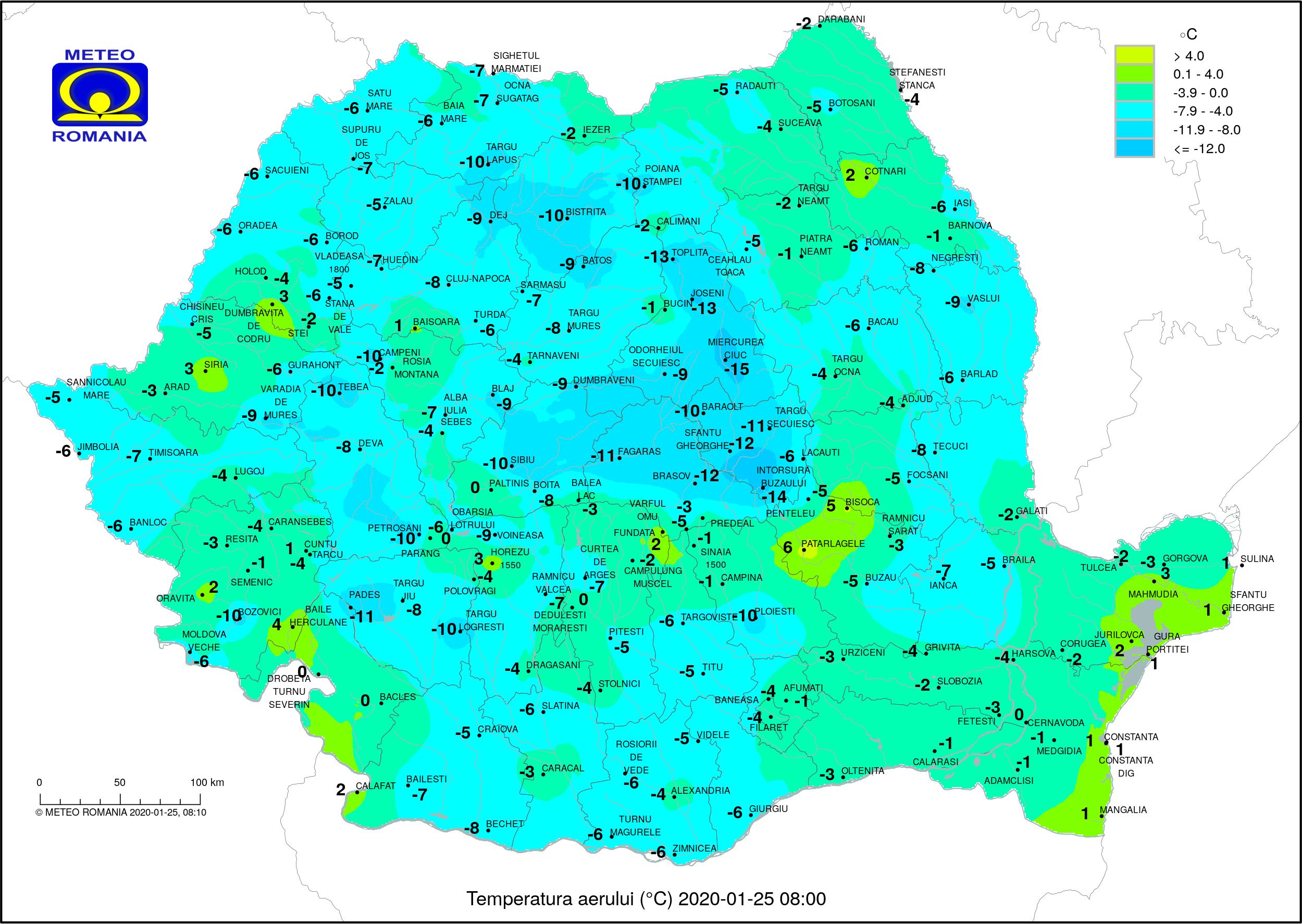 Temperaturi ora 8 Romania