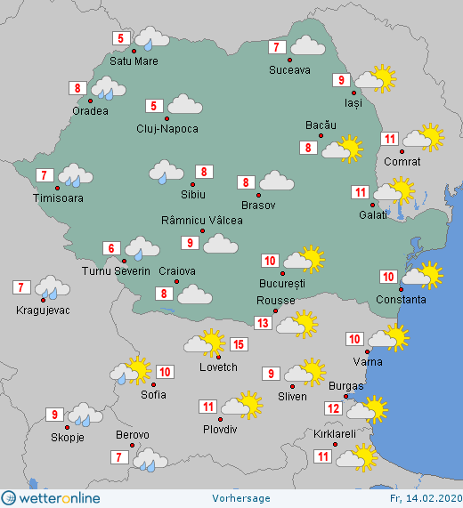 Prognoza meteo Romania 14 Februarie 2020 Romania (Romania weather forecast for today).