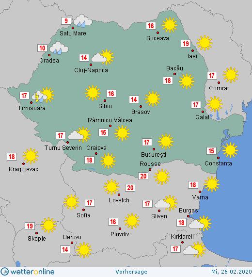 Prognoza meteo Romania 26 Februarie 2020 #Romania #vremea