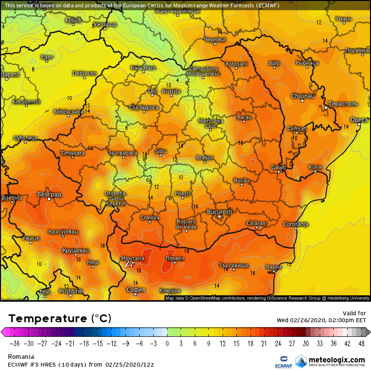 Prognoza meteo Romania 26 Februarie 2020 Romania (Romania weather forecast for today).
