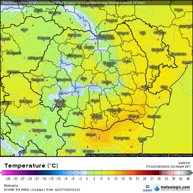 Prognoza meteo Romania 28 Februarie 2020 Romania (Romania weather forecast for today).