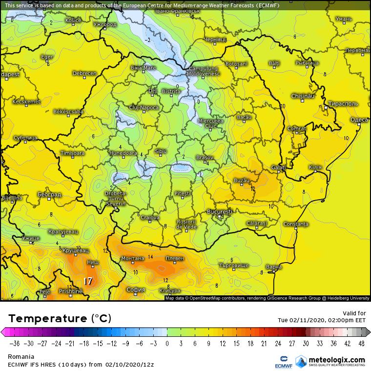 Prognoza meteo Romania 11 Februarie 2020 Romania (Romania weather forecast for today).